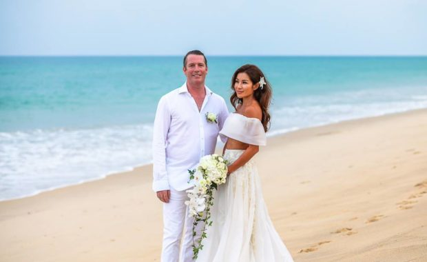 Benjama & Rory on the beach at their Phuket wedding - by Grandforest Phuket