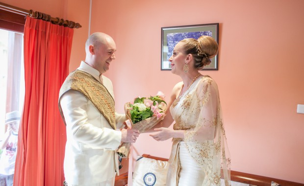 Whitney & Brian at their wedding ceremony in Phuket